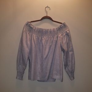 Ann Taylor LOFT Gray Off Shoulder Top New with Tag